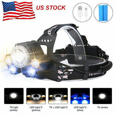 150000Lumens 5-LED Zoomable USB Rechargeable 18650 Headlamp Headlight Head Light