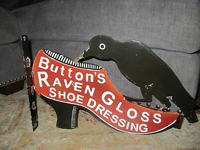 old 1930s Button's Shoe Porcelain double sided flange Sign