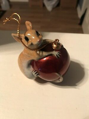 "Kitty's Critters Vintage Christmas Ornament Hangin' On 2.5"" Tall Mint Condition"