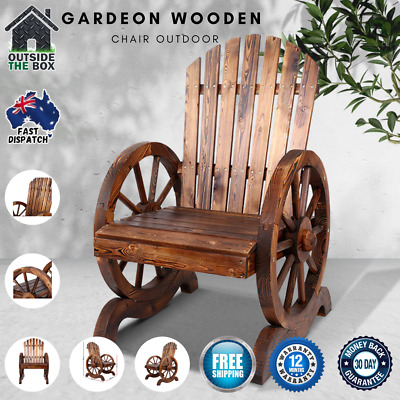Gardeon Wooden Wagon Chair Outdoor Garden Furniture Lounge Patio Bench Wheel New
