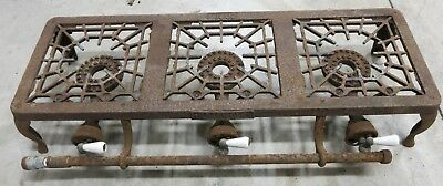 Vintage Griswold Cast Iron Three Burner Camp Stove Gas Grill #603 3