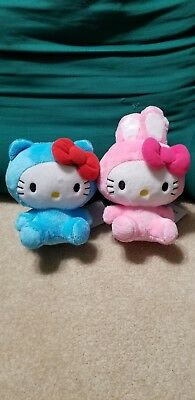 """NWT Hello Kitty Plush 6"""" Blue and Pink Bunny ear Bow Tie Cat Ear"""