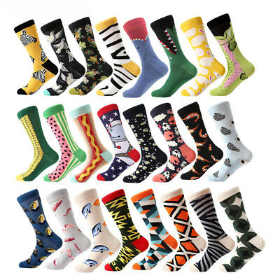 Men's Cotton Design Printed Colorful Stretch Classic Breathable Crew Dress Socks