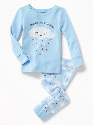 NWT GIRLS OLD NAVY PAJAMAS PJS SIZE 2T 3T 4T 5T shower me with love blue