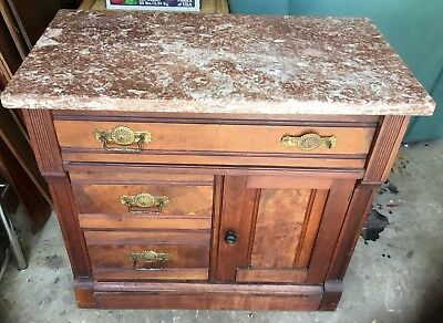 Antique Dry Sink Wash Stand Solid Wood Marble Top