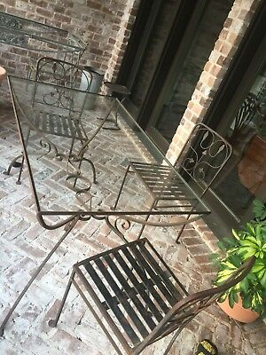 Vintage PATIO TABLE - 4 CHAIRS BLACK WROUGHT IRON - HOUSTON Pick Up