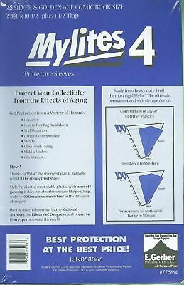 50 Mylites4 SILVER/ GOLD 4 mil Archival Mylar Comic Bags E. Gerber 775M4