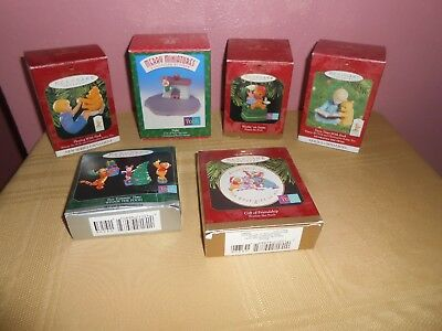 Lot of 6  WINNIE THE POOH theme Hallmark Christmas Ornaments