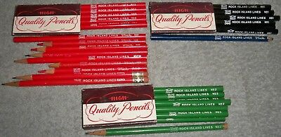 Vintage LOT of 36 ROCK ISLAND LINES Railroad Green,Black,Red #1,2,3, Unsharpened