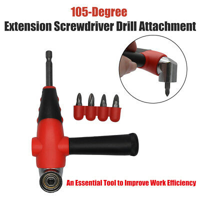 105° Angle Drill Attachment Adapter Hex Drive Works Reverse Bit Driver Magnetic
