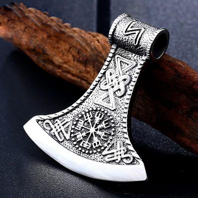 New Style Norse Viking Amulet 316L Steel Celtic Knot Axe Pendant No Chain