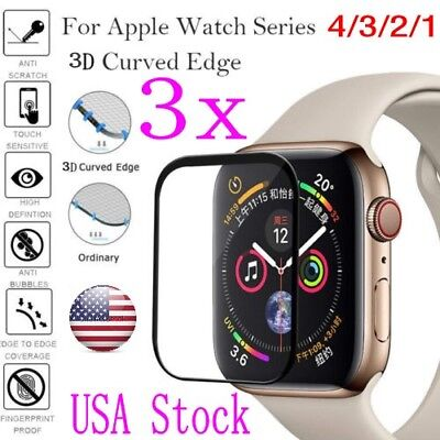 For Apple Watch Series 4/3/2/1 Tempered Glass 3D Full Screen Protector 38-44mm