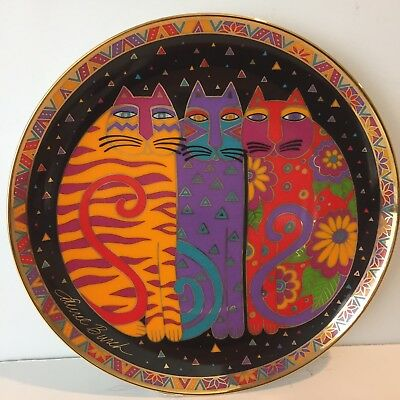 Vintage Laurel Burch Franklin Mint Cat Plate Fanciful Felines 24 Karat Gold