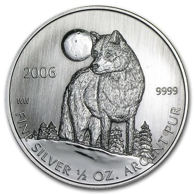 2006 CANADIAN 1/2 oz 9999 FINE SILVER COIN TIMBER WOLF