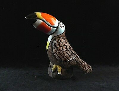 Casals Peru TOUCAN BIRD FIGURINE Hand Made/Painted Pottery