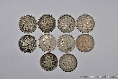 Collection of (10) 3 Cent Nickel s .03 3C 1865-1869 LOOK | 13214