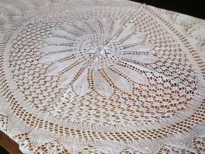 1930's Vintage OVAL Hand Knit LACE TABLECLOTH 59x70 inches Cotton