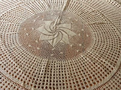 "Vintage Hand Crochet FINE LACE Tablecloth 54"" diameter light ecru"