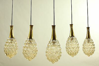 Set of 5 Limburg Pendant Lamps Amber Glass Shades in Drop Shape 1960's - 1970's