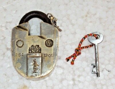 Old antique vintage brass solid SPARLING padlock with key Heavy Rich patina lock