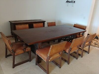 Antique Vintage Oak Dining Set with 8 chairs and Free Credenza,Labeled Rapids