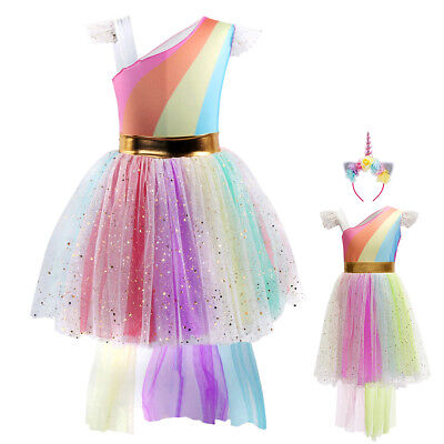 Girls Unicorn Christmas Costume Rainbow Party Cosplay Fancy Dress up Outfits