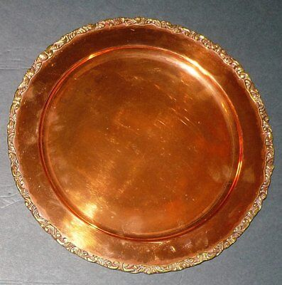 Vintage Set Of 6 BAROQUE Brass Trimmed COPPER CHARGER PLATES w/ TRAY