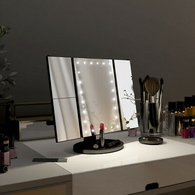 1X/2X/3X/10X Trifold 24 Built-InLED Lighted Makeup Mirror USB/Batteries Powered