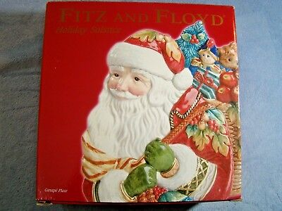 Fitz and Floyd Holiday Solstice Santa Christmas Canape Plate with Box