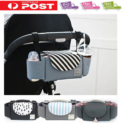 Universal Pram Baby Trolley Storage Bag Stroller Cup Bottle Holder Organizer AU
