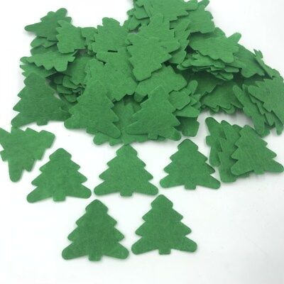 DIY 200X Green Christmas tree Die Cut Felt Appliques Cardmaking decoration 33mm