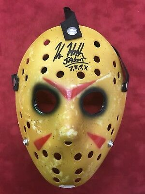 Kane HODDER Autographed Jason VOORHEES mask Friday The 13th With Inscrition JSA