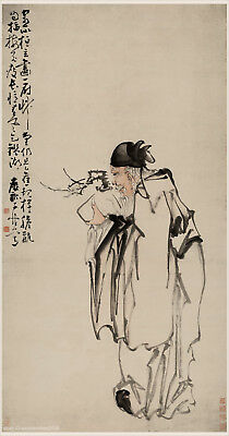 Chinese old scroll painting Old man holding plum in hands by Huang Shen in Qing