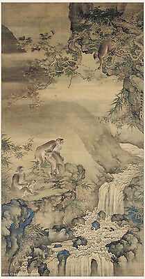 Chinese old painting on silk Monkeys and bees by Shen Quan in Qing dynasty