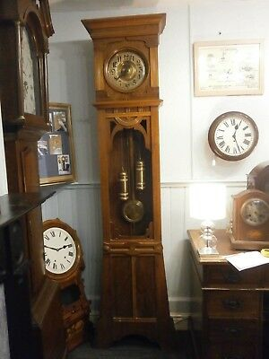 Clock Arts and Crafts 8 Day Circa 1900s Walnut finish case longcase grandfather