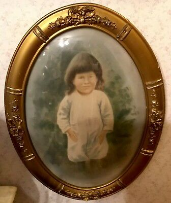 Antique Victorian Large Oval Ornate Wood Frame Convex Glass Front With Odd Boy