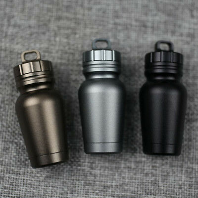 Portable Waterproof Aluminum Medicine Pill Tank Box Case Bottle Holder Container