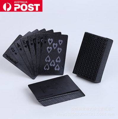 Black Plated Playing Cards Plastic Durable Waterproof Poker Table Game Party AU