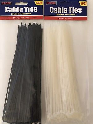 120 Cable Ties - Black or White - Free Postage