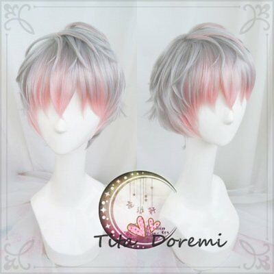 Halloween Wig Cosplay Mystic Messenger Unknow gray Mix pink party fashion