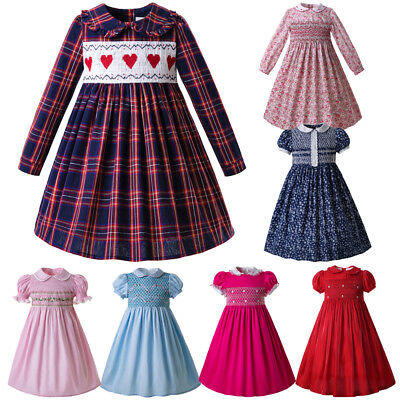Spanish Hand-Smocked Dress Kid Girl Long Sleeve Plaid Occasion Communion Dress