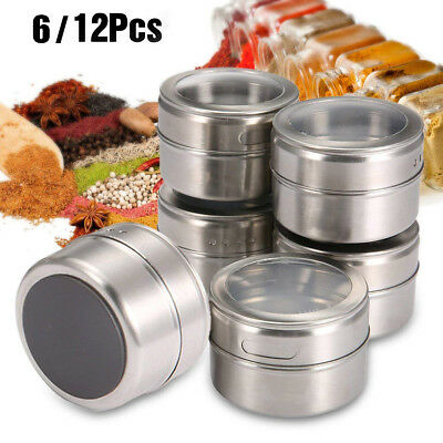 Magnetic Spice Jars Tins Stainless Steel Storage Container Clear Lid Set of 12