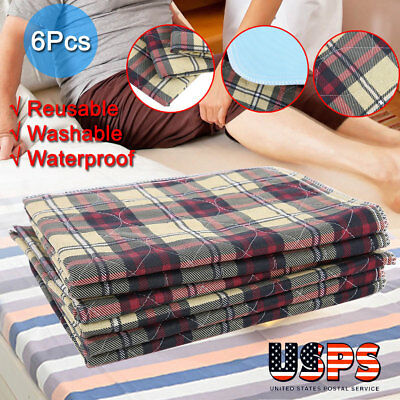 6 Premium Reusable Washable Underpads Bed Pads 45x60 Hospital Grade Incontinence