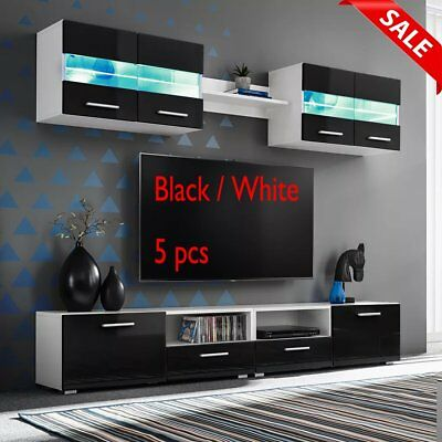 5pc LED TV Cabinet Stand Wall Cupboard Living Room Furniture Set Black White New