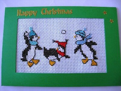 Christmas Card Completed Cross Stitch Penguins Snowball Fight 6X4""