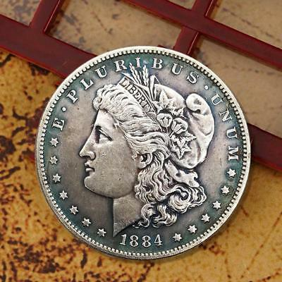 One Dollar E. PLURIBUS UNUM 1884 Morgan USA Silver Retro Coin+ Box SH