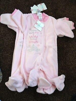 Joblot bundle of baby girls Disney Fleece baby grows x 4  size 6-12 months BNWT
