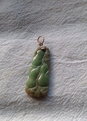 Antique Chinese Jade Pendant with Gold mount