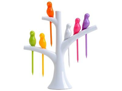 Novelty Fruit Platter Server Bird Tree Top Stand & Fork Toothpick Set