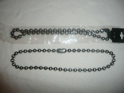 2 New Large Ball Link Necklace 52Cm Jewellery Brushed Steel.biker/punk 99P Start